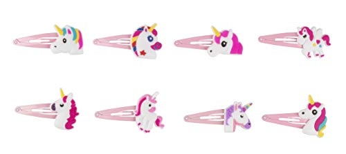 Rainbow Unicorn Hair Clips - 24-Pack Anti-Slip Snap Hairclips for Girls, Assorted Pink Unicorn-Themed Barrette Hair Pins… 6