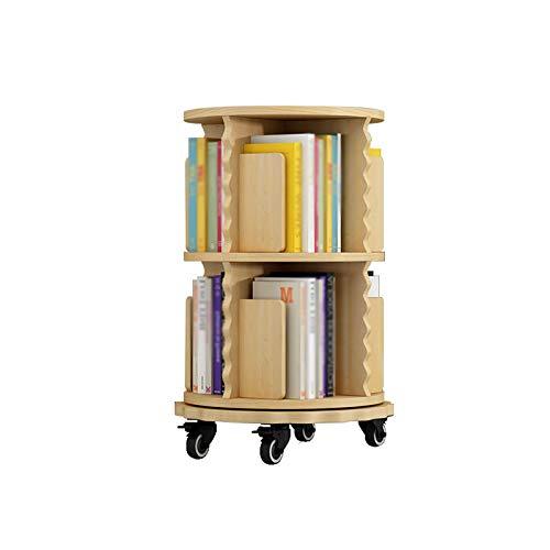 Bibliothèque Étagère de rotative en Bois Massif à 360 degrés, Plancher Mobile Simple Simple Simple Bedside Petite avec Roues FANJIANI (Color : A, Size : Two Layer)