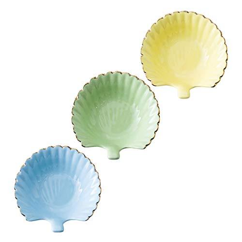 YARNOW 3 Piezas de Cerámica Mini Plato de Condimento Lateral Plato de Condimentos Sushi Tazón de Inmersión de Soja Bandeja para Servir Aperitivos Plato de Aperitivo Vinagre Tazón de