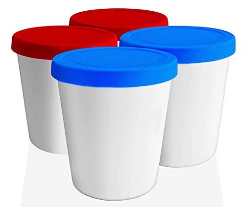 LIN Recipientes con Tapa para Conservar Helado Paquete de 4 Envases Redondos Reutilizables de Congelación de 1 Litros para Helado Casero, Sorbete, Yogur Helado o para Guardar Comida en General