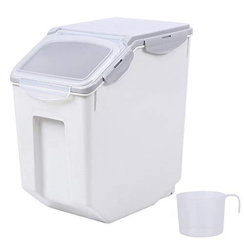 Pssopp Aufbewahrungsbox für Tierfutter Hundefutterbehälter Vorratsbehälter für Tiernahrung Luftdichter, Behälter für Leckereien und Trockenfutter mit Messbecher(32,5 x 19,5 x 36,3 cm)