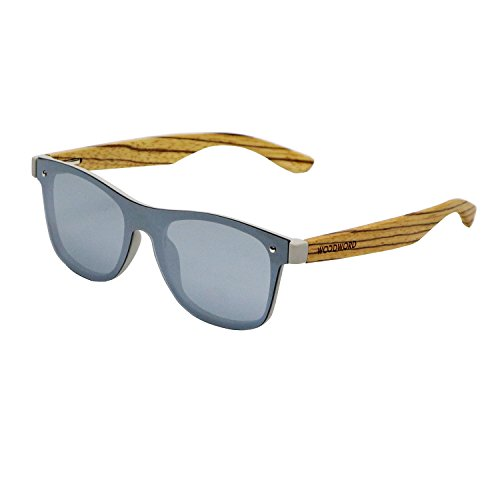 Wood Sunglasses Polarized for Women and Men - Wood Frame Sunglasses Wayfarer with Flat Mirror Lens...
