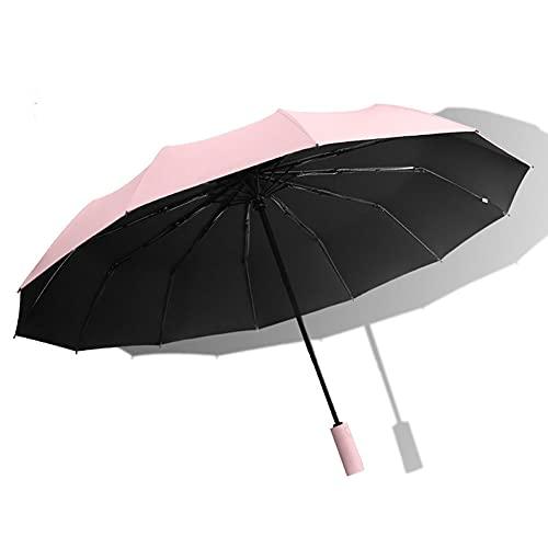 Rosa,Paraguas de viaje plegable a prueba de viento Se cierra automáticamente Se abre automáticamente Diseño liviano Paraguas compacto, fácil de transportar, asa antideslizante con 12 varillas