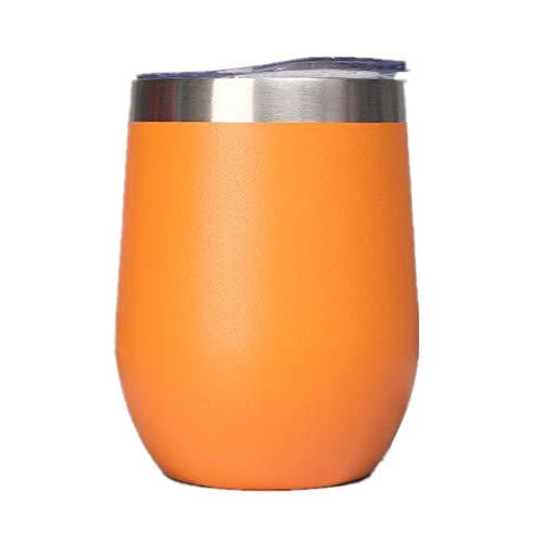 Gtell 12oz Copas de Vino sin Tallo con Tapa, Doble Pared Aislante, Vaso de Viaje, Vino, café, Bebidas, champán, cócteles,