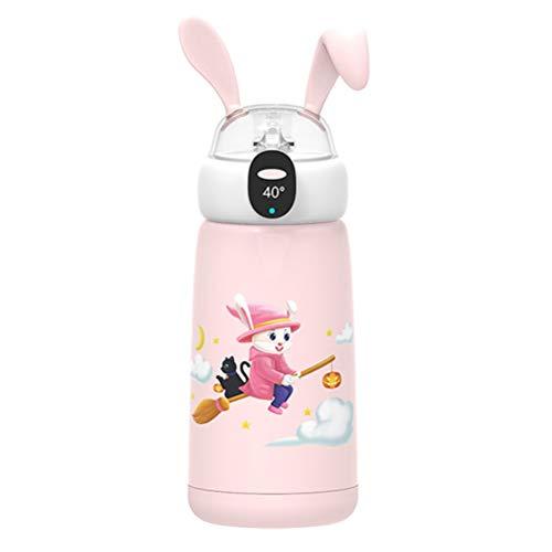 VIVILIAN Baby Kids Insulated Cup Wasserflasche mit OLED Touchscreen 500ml Wasserflasche Cartoon Pattern Vakuumflasche mit Wasserflaschenbeutel