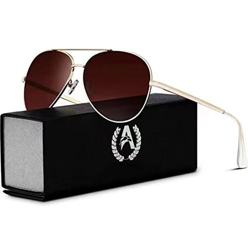 VVA Sonnenbrille Herren Pilotenbrille Polarisiert Pilotenbrille Polarisierte Sonnenbrille Herren Pilot Unisex UV400 Schutz durch V101(Braun/Gold)