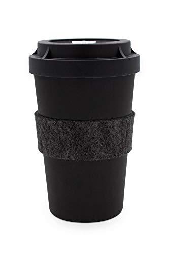 heybico Coffee to go Becher Made in Germany mit Filz-Manschette | Frei von Melamin & ohne Bambusfasern | Biologisch abbaubar & kompostierbar (Black & Black)