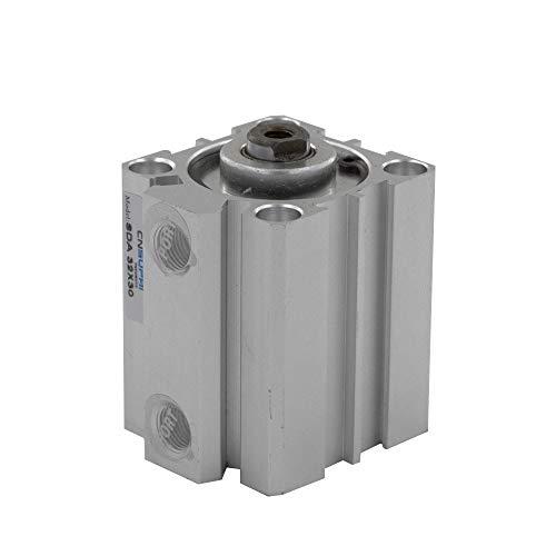 WNJ-TOOL, 1pc Pneumatik-Zylinder SDA Typ 32mm Bohrung 5/10/15/20/25/30/40 / 50mm Hub Aluminiumlegierung doppeltwirkend Druckluftzylinder (Größe : SDA32x20)
