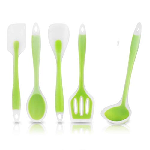 Silicone Kitchen Utensils Set Heat Resistant Cooking Non-Stick Baking Tool Spoon Soup Ladle-Egg Turner Home Picnic Lodge Dorm Gadget Camping Birthday Wedding Registry Restaurant Housewarming