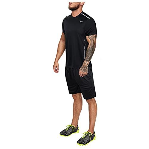 D-Rings Männer Fußball Trainingsset Bekleidung Mode Neu Herren Football Shirt Kurzarm T-Shirt Shorts Sport Outfit Sets Zweiteiliger Jogginganzug Sportanzug Trainingsanzug