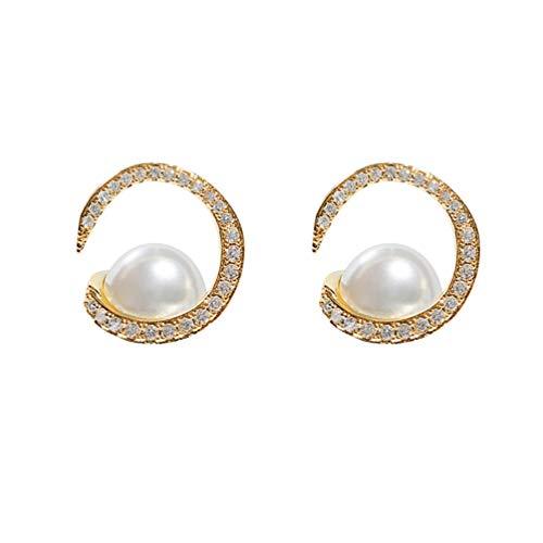 Holibanna 1 par de Pendientes de Perlas de Plata Delicadas Pendientes de Moda para Mujer Earbob (Dorado)
