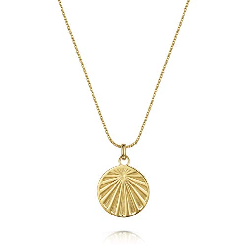 Women's 18ct Gold Vermeil Necklace, Olivia Cooper Celeste Sunray Circle Disc Pendant, 42cm+5cm, Luxury Jewellery Packaging, Mother's Day Birthday Anniversary Present