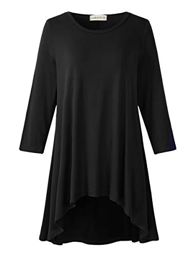 LARACE Womens Plus Size 3/4 Sleeve Loose Fit Flare Swing Tunic Tops Floral High Low Basic T Shirt, Black 3X