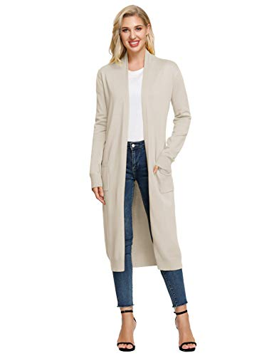 Women Duster Cardigans Lightweight Cardigans for Women with Pockets Beige M