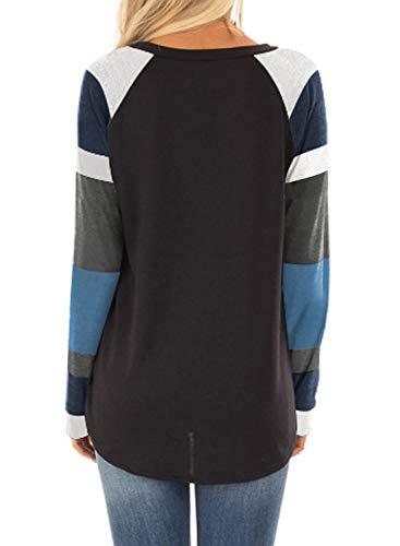 Fashion Shopping BLENCOT Women's Lightweight Color Block Short Long Sleeve Loose Fit Tunics