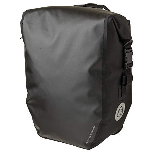 AGU Clean Fahrradtaschen Large, Tasche für Gepäckträger Fahrrad, 21L Seitentasche Fahrrad, Wasserabweisend, Reflektierend, 100% Recyceltes Polyester - Schwarz