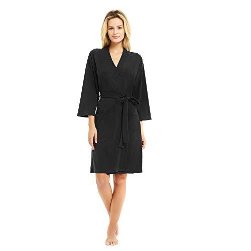 U2SKIIN Womens Cotton Robes, Lightweight Robes for Women with 3/4 Sleeves Knit Bathrobe Soft Sleepwear Ladies Loungewear