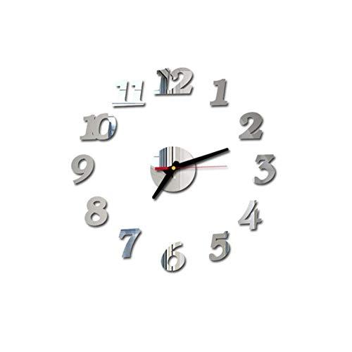 1 juego de reloj de pared digital de espejo 3D adhesivo de superficie silencioso, reloj de pared para decoración de dormitorio, oficina, 40 cm, diámetro de 40 cm