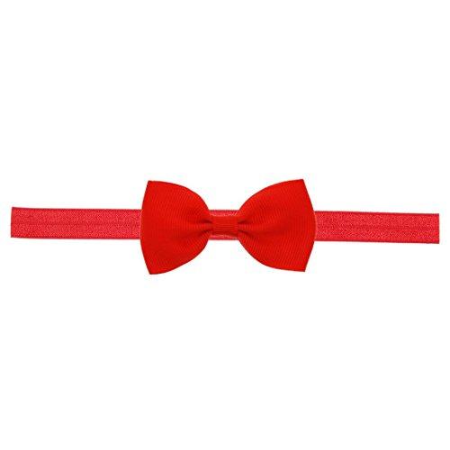 Longra mini-haarband voor baby en meisjes, met strik, elastische haarband voor baby en meisjes, accessoires, elastisch, met bloemendecoratie Rood