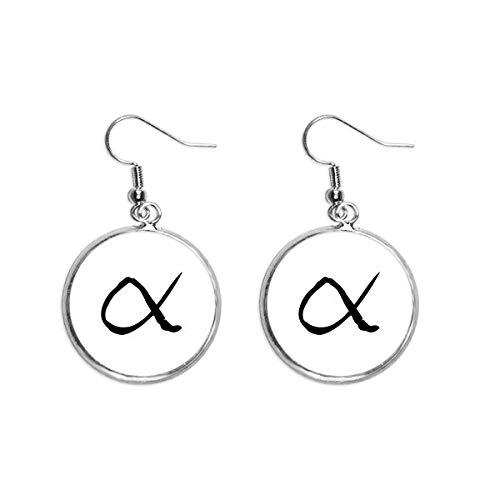 Alfabeto grego alfabeto alfa preto brinco pendente prata joia feminina