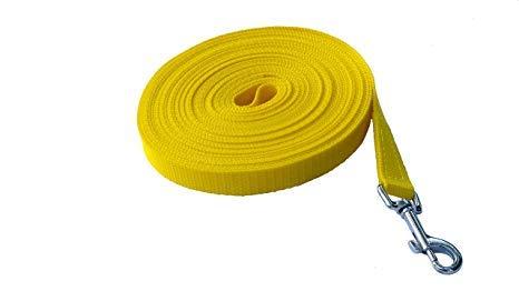 Angel for Pets MJH Nylon Schleppleine 25mm breit, vernäht, gelb versch. Längen (5m)