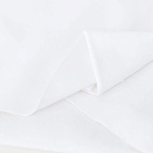 TOLKO Baumwollstoffe Meterware | Lichtdichter Bühnen-Molton Stoff für Verdunklungsvorhänge | 300cm breit | 2mm dick | zum Nähen und Dekorieren (Weiß)