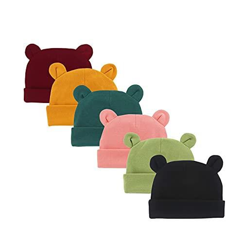SUNNOOP Newborn Hospital Hats Infant Boys Girls Bear Ears Beanie Hat Cotton Baby Cap 0-6 Month 6 Pcs