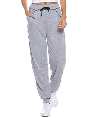 iClosam Pantalon de Jogging Femme avec Cordon de Serrage - Casual Pantalon Survêtement - Pantalons de Sport/Fitness/Yoga Grande Taille,Gris Clair,M