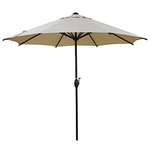 Abba Patio 9ft Patio Umbrella Outdoor Market Table Umbrella with Push Button Tilt and Crank for Garden, Lawn, Deck, Backyard & Pool, 8 Sturdy Steel Ribs, Beige