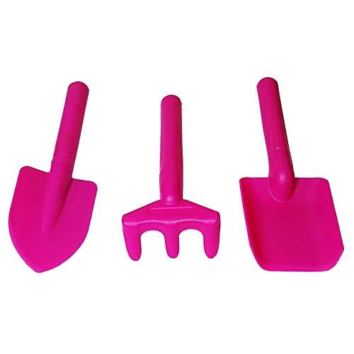 1a-becker 3er Set Garten Werkzeug Kinder Gartenset Schaufel Harke Spielzeug Kunststoff Pink