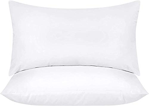 Utopia Bedding Relleno de Cojín 30 x 50 cm (2 Unidades) - Funda de Mezcla de Algodón - Fibra Virgen Siliconada - Almohadas de Sofá (Blanco)