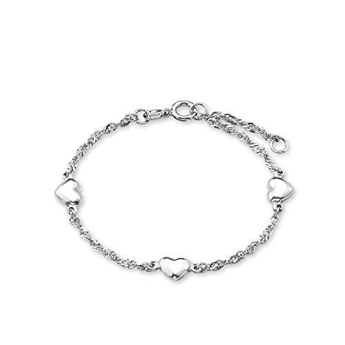 amor Armband für Mädchen Singapur 12+2 cm längenverstellbar Herzen 925 Sterling Silber