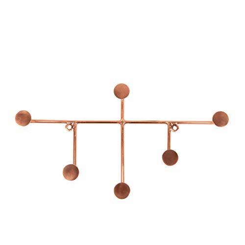 LaLe Living Perchero SAMI de hierro en cobre, con 6 ganchos, perchero de pared, 34 x 18 cm