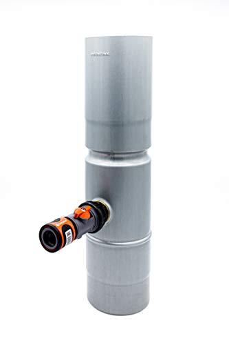 N.N Fallrohr Regenwassersammler Blaugrau pre Patina mit Gardena Schlauchanschluss (prePatina, 80mm) mit Laubfilter. -Made in Germany-