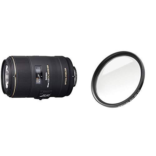 Sigma 105 mm F2,8 EX Makro DG OS HSM-Objektiv (62 mm Filtergewinde) für Nikon Objektivbajonett & Walimex Pro UV-Filter Slim MC 62 mm (inkl. Schutzhülle)