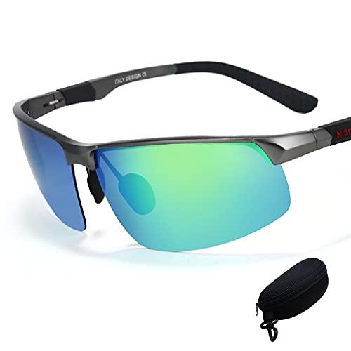 ZXZW Gafas de Sol polarizadas Deportivas de Hombres de Aluminio Gafas de Sol polarizadas de magnesio con Estuche de espectáculo Adecuado para Deportes, conducción y Ciclismo UV400