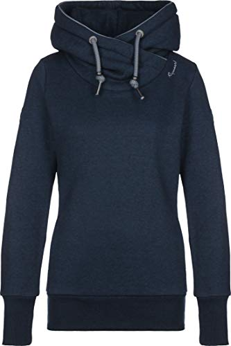 Ragwear GRIPY Bold Damen,Streetwear,Sweatshirt,Kapuzen-Pullover,Hoodie,vegan,hohe Kragen,Tasche,Navy,M