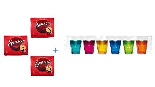 Senseo Kaffeepads Klassisch / Classic, 3er Pack, 3 x 16 Pads plus mit 6 Glas Becher von James Premium neue metallic Design 269ml