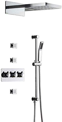 Juego de ducha empotrable, cabina de ducha con cuatro funciones con chorro lateral, chorro de lluvia, juego de ducha de pared, todo de cobre