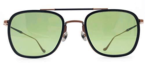 Matsuda M3081 Copper Brown & Matte Black with Green Lens Aviator Sunglasses