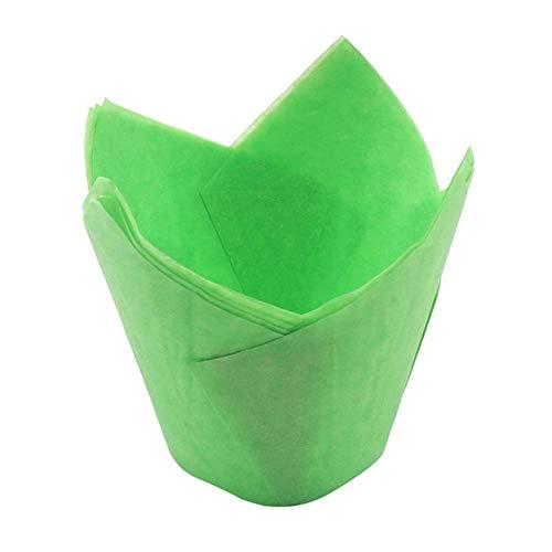 Litymitzromq - Juego de 50 moldes decorativos para tartas, magdalenas, papel para hornear, 50 unidades, Verde, 1