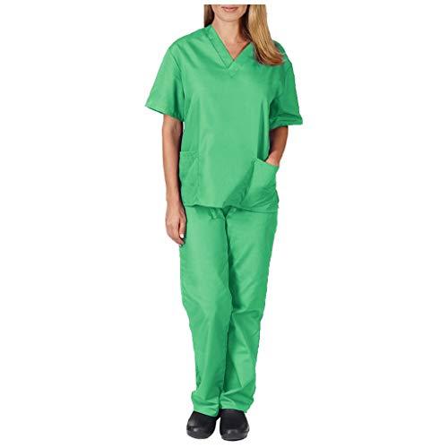Medizinische Uniformen Damen und Herren Unisex-Schrubb-Set Berufsbekleidung mit Oberteil und Hose Krankenpflege Uniform Anzug mit Taschen Arbeitskleidung (L, Grün)