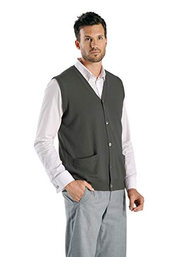 Cashmere Boutique: Suéter sin mangas de cachemira 100% puro para hombre (7 colores, tamaños: S/M/L/XL)