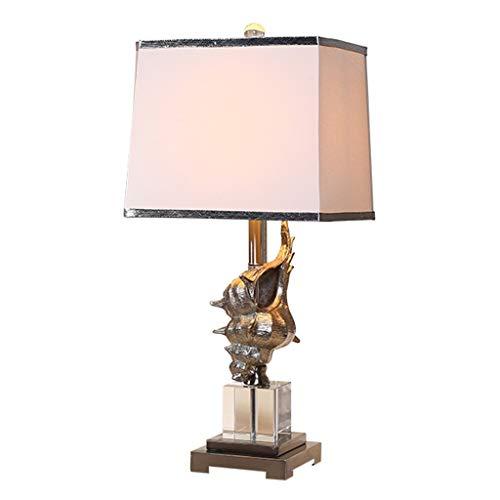 ffshop Lámpara de Mesa Estilo Mediterráneo Concha lámpara de Mesa de Cristal Dormitorio lámpara de cabecera Moda Estancia Hotel lámpara de Mesa lámpara de mesita (Color : White)