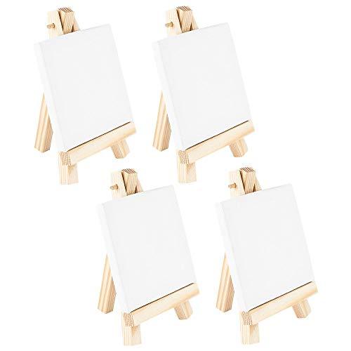Ideen mit Herz Mini-Staffeleien mit Leinwand | Mini-Leinwände auf Keilrahmen, weiß | Holz-Staffeleien | Tischdeko (Leinwand 7,5 x 7,5 cm | Staffelei 12,8 x 7,5 cm | 4 Stück)