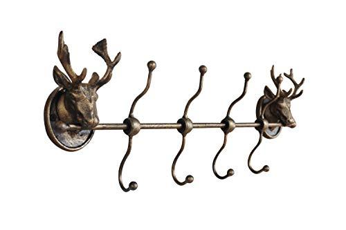MAISONICA Perchero de hierro resistente, diseño de ciervo dorado envejecido