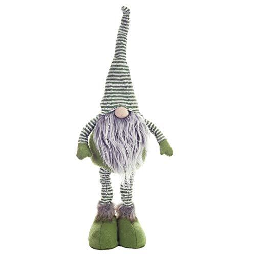 Viesky Stile Nordico Natale Gamba Lunga Senza Volto Babbo Natale Bambola in Piedi Con Cappuccio a Strisce Decorazione Natalizia Per Feste Decorazione Per Figurine Ornamento