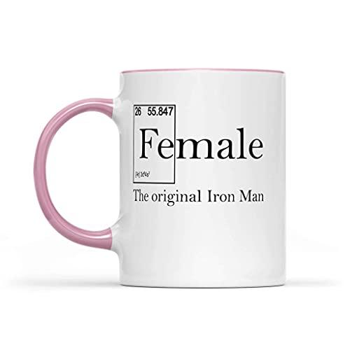 N\A Tazas Femeninos - Fe (Macho) de cerámica Acento Taza 11oz El Original de Iron Man Coffee Rosa Acento Taza - Idea Fuerza Feminista Regalo Mujer Taza de café