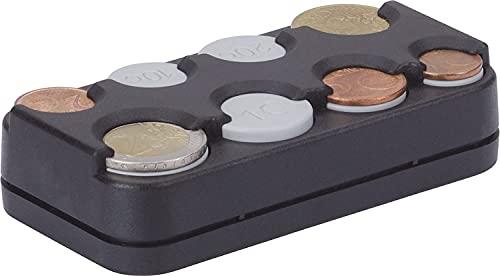 hr-imotion 8er Münzbox für Euro Münzen 1 Cent bis 2 Euro mit Federausgabe Münzaufbewahrung Tasche – für Kleingeld – KFZ - Selbstklebend
