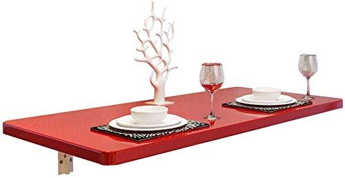 YZjk Wandmontage Dropleaf Tisch Klapp Küche Esstisch Schreibtisch, Kindertisch, Home Office Laptop Schreibtisch Workstation Computertisch Mit Lagerung, Bock Schreibtisch, Rot (Größe: 120 * 30 cm)